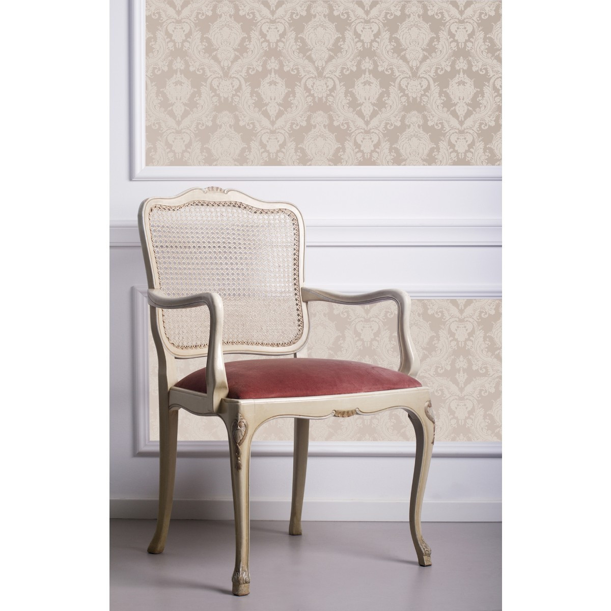 charming Textured Self Adhesive Tempaper Wallpaper in Bisque design matched with gray tile floor plus chairs for living room decor ideas