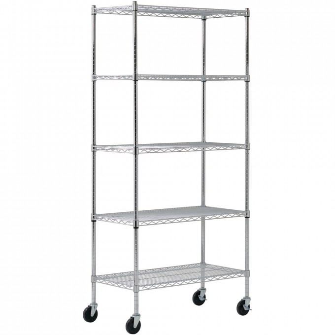 Charming White Edsal Shelving Made Of Steel With Wheels For Garage Furniture Ideas