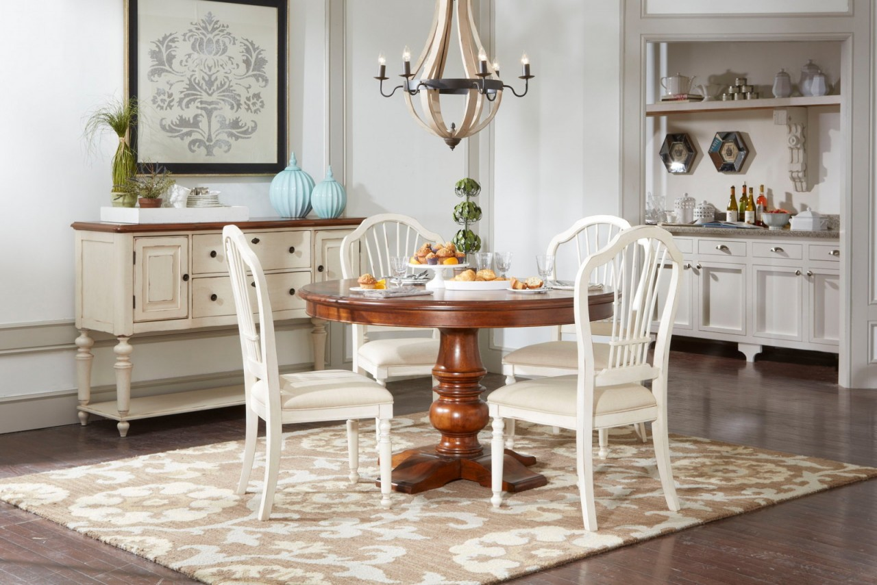 Filled Your Home With Broyhill Furniture Ideas: Charming White Wooden Dining Chairs With Brown Dining Table By Broyhill Furniture Under The Chic Chandelier For Dining Room Decor Ideas