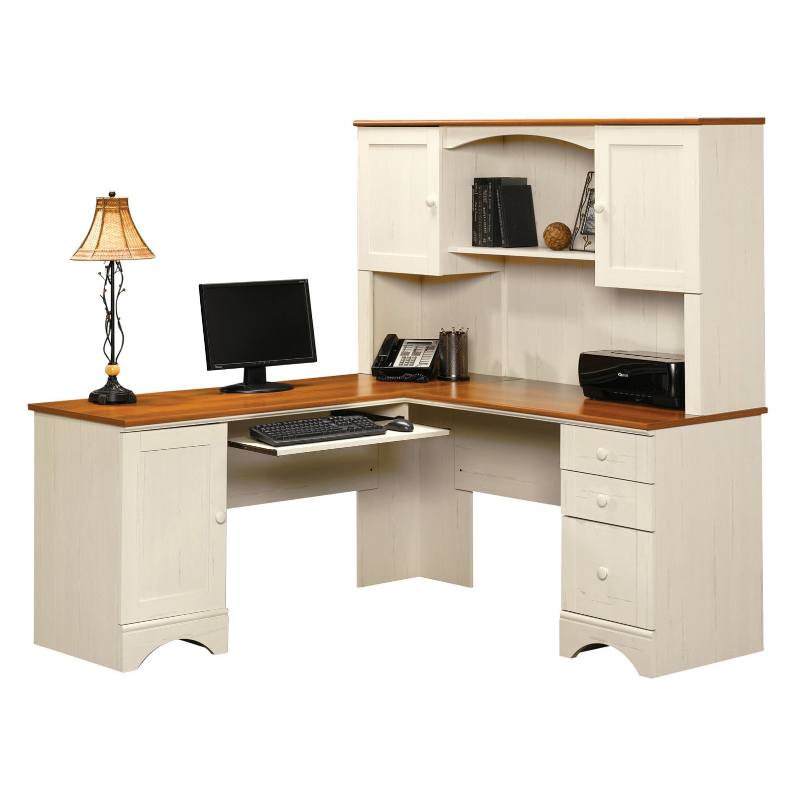 charming white wooden l shaped desk with hutch and drawers by sauder furniture for home office furniture ideas