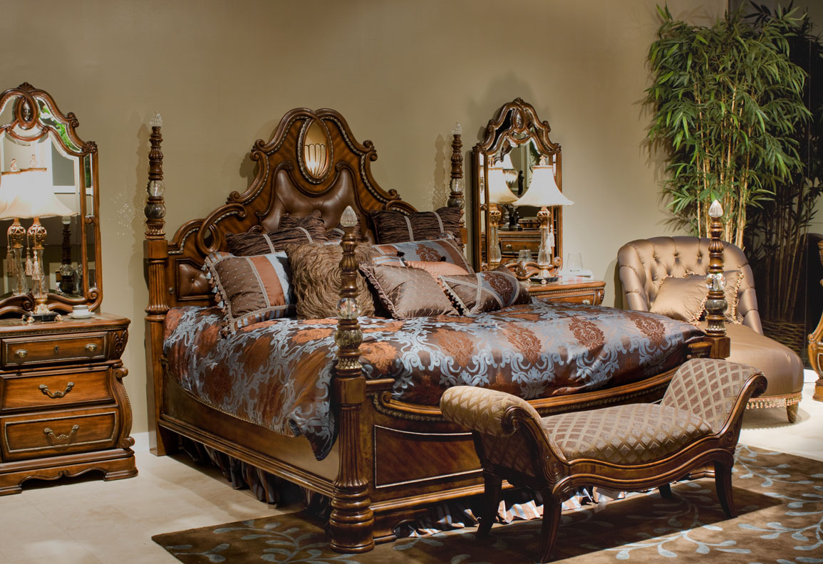 charming wooden bed in brown with wonderful carving headboard by aico furniture plus floral bedding for chic bedroom decor ideas