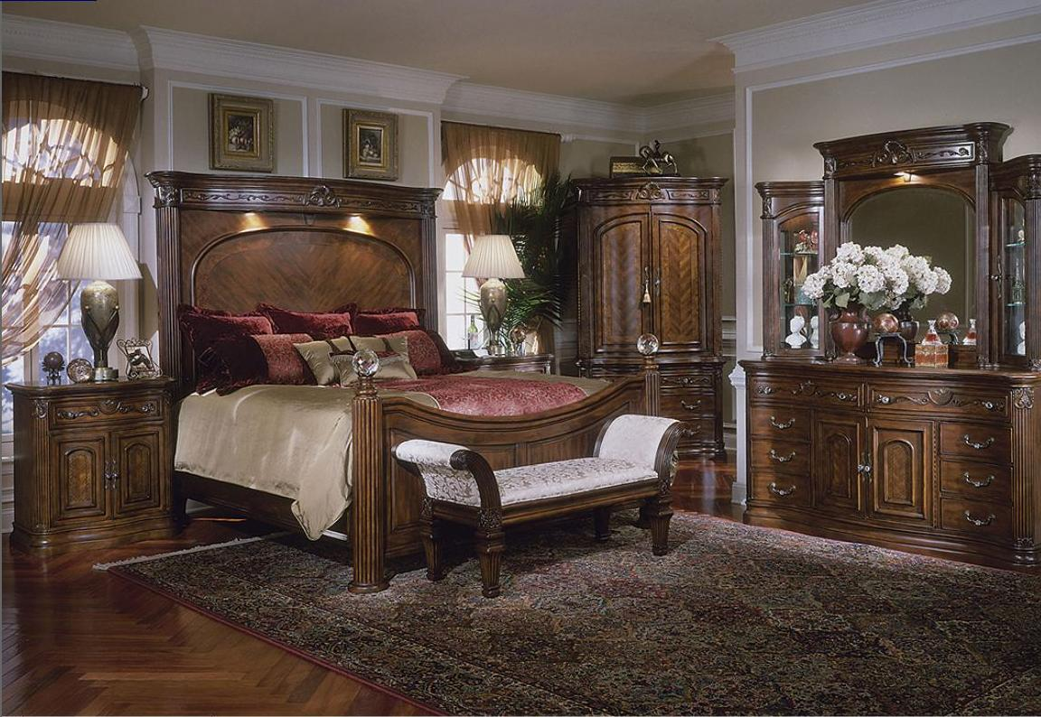 charming wooden bed with tall headboard in brown by aico furniture on wooden floor with rug for bedroom decor ideas