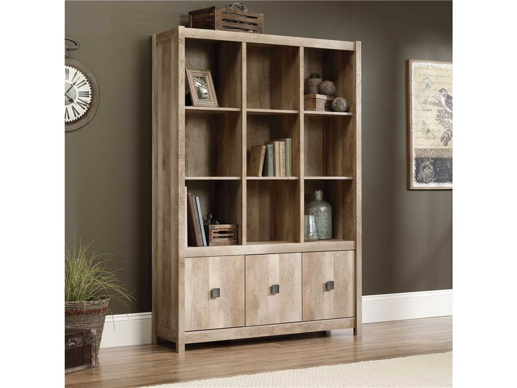 charming wooden bookcase with storage by sauder furniture on wooden floor which matched with tan wall for living room decor ideas