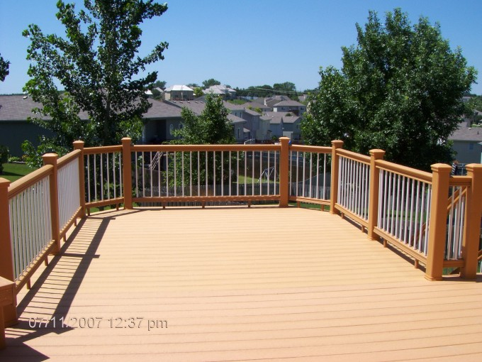 Cheap Trex Decking Cost In Brown Matched With Brown White Railing For Patio Decor Ideas