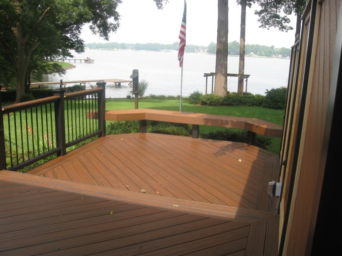 Cheap Trex Decking Cost With High Quality Wooden Material Matched With Wooden Railing Plus Wooden Bench For Patio Decor Ideas