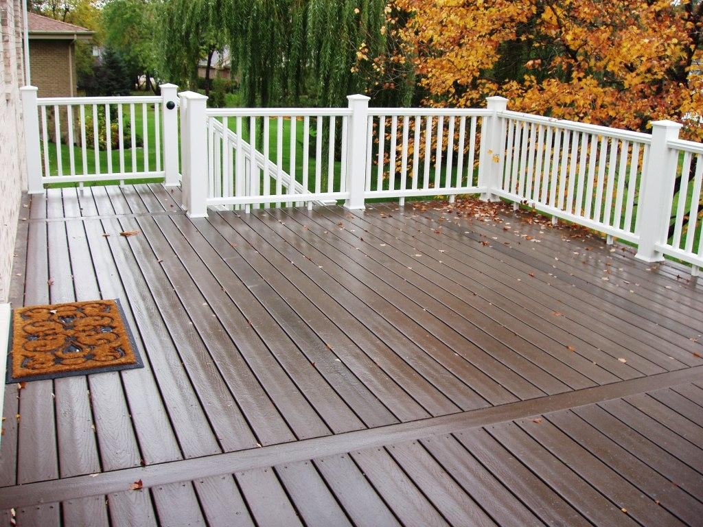 chep trex decking cost in brown matched with white railing for patio decor ideas