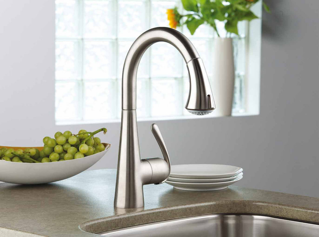 chic 32298SD0 Stainless Steel LadyLux3 Pull Down Spray Kitchen grohe faucets on granite countertop plus sink for kitchen decor ideas