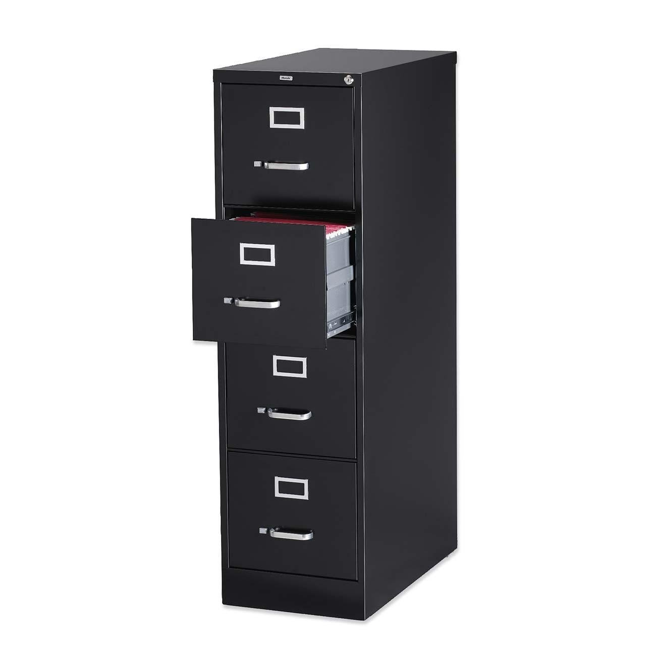 chic 4 Drawer fireproof file cabinet in Dark Color with silver handle for home office furniture ideas