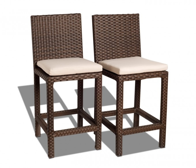 Chic Atlantic Monza All Weather Wicker Cushioned Barstools By Cymax Bar Stools For Home Furniture Ideas