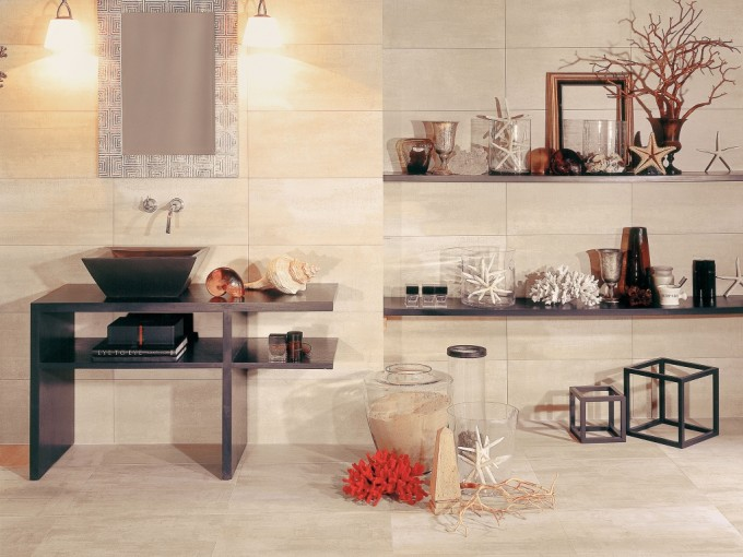 Chic Bathroom Decor With Interceramic Tile Floor And Wall Decor Plus Sink And Silver Mirror Ideas