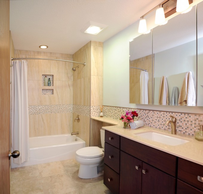 Chic Bathroom Design With Brown Wooden Bathroom Cabinet With Tile Backspash With Schluter Strip Ideas