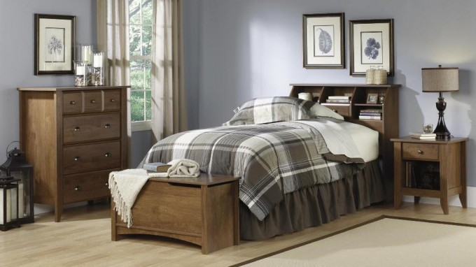Chic Bed And Bench With Storage By Sauder Furniture On Wooden Floor Which Matched With Blue Wall For Bedroom Decor Ideas