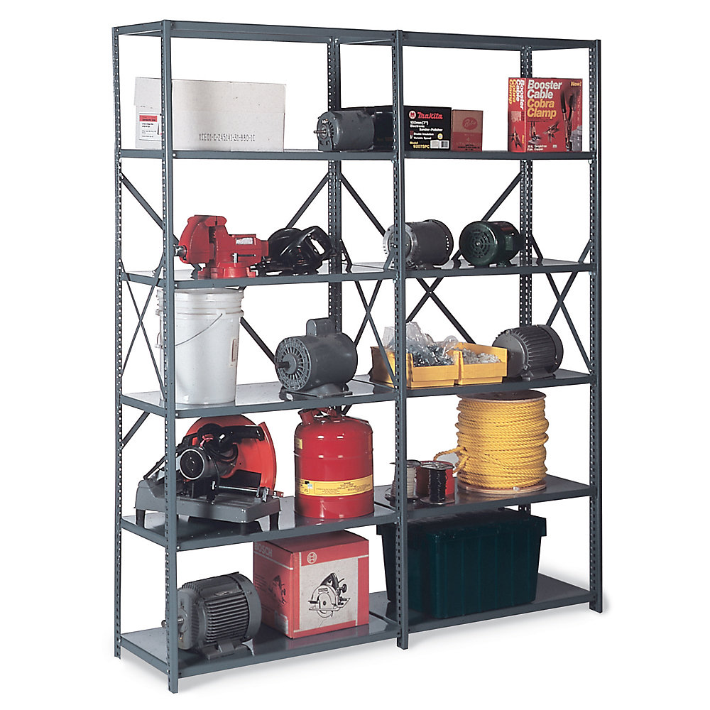 Chic Black Edsal Shelving Made Of Iron For Garage Furniture Ideas