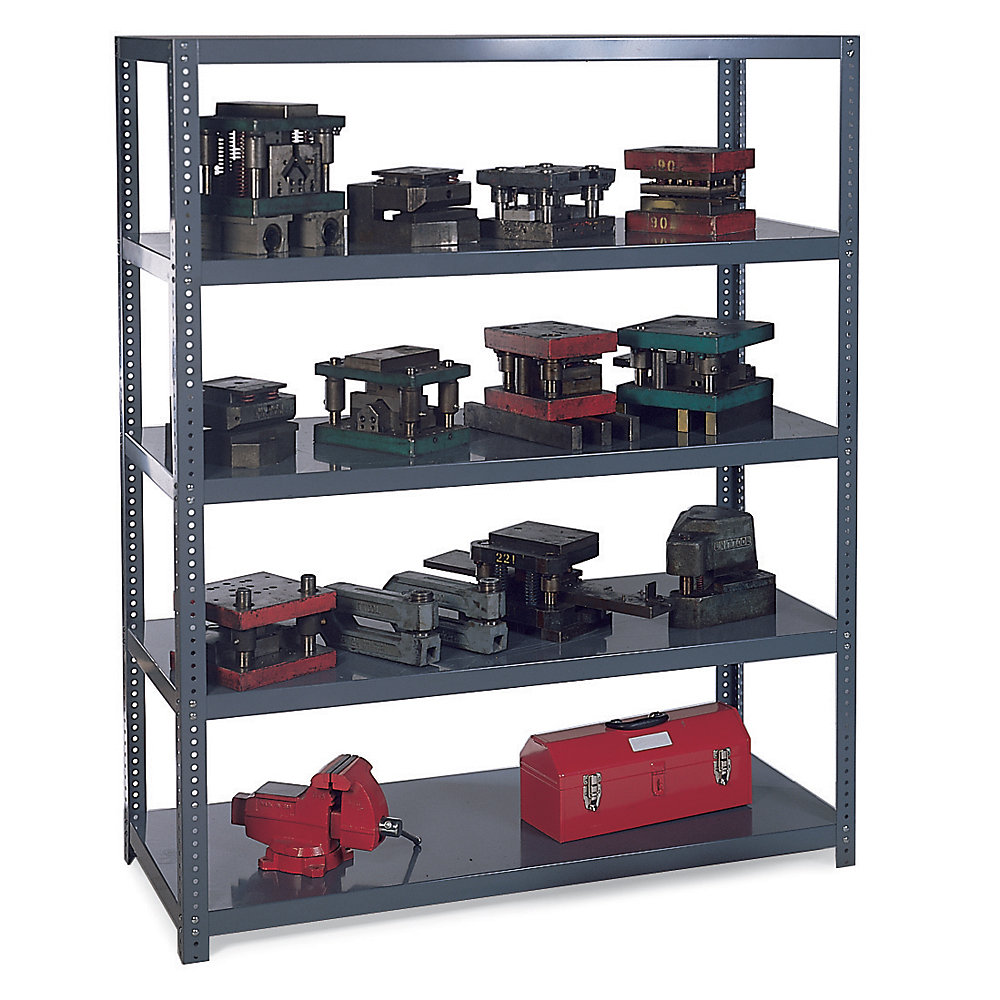 Use Edsal Shelving At Your Garage To Save Your Tools: Chic Black Steel Edsal Shelving In Five Steel Design For Garage Furniture Ideas