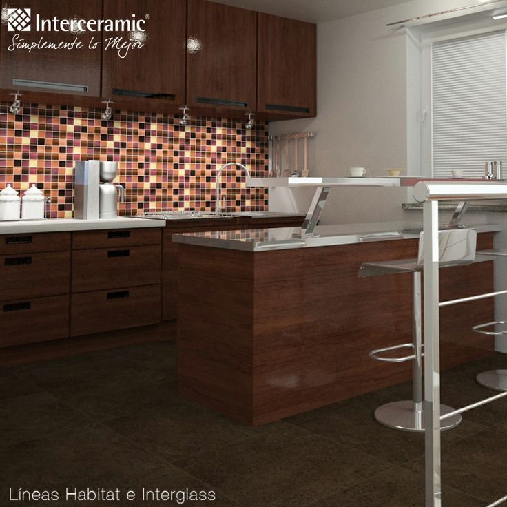 chic brown interceramic tile floor plus kitchen island with awesome backsplash for kitchen decor ideas