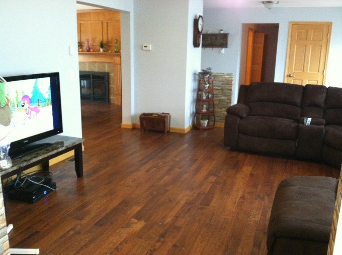 Chic Bruce Hardwood Floors Matched With White Wall Plus Brown Sofa Set And Television For Living Room Decor Ideas