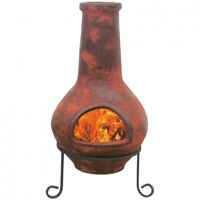 Chic Clay Chiminea With Metal Stand Old Time Pottery For Outdoor Fireplace Ideas