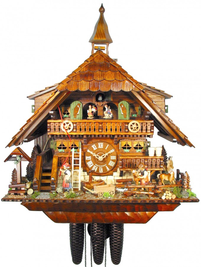 Chic Cuckoo Clock Made Of Wood With Daily Life Scene For Home Accessories Ideas