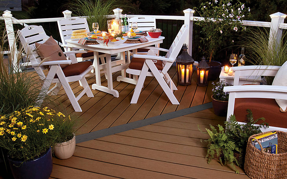 chic decking IN BEACH DUNE with white dining table set for standard trex decking cost ideas