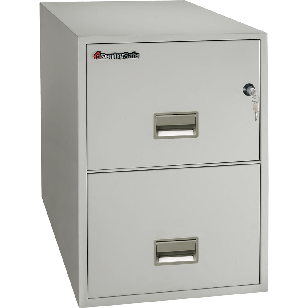 chic fireproof file cabinet in antique white with silver handle and double drawers for home office furniture ideas