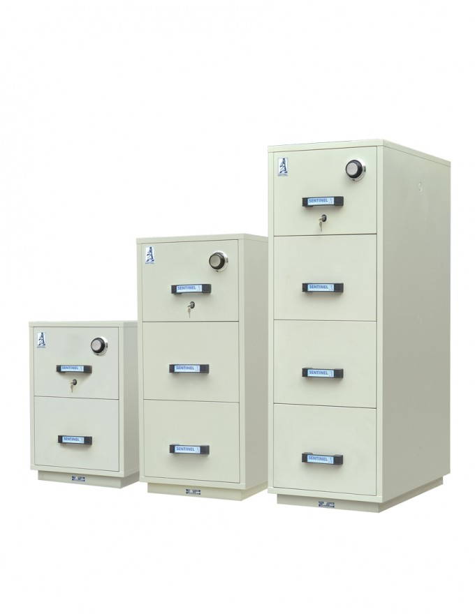 Chic Fireproof File Cabinet In Beige With Black Handle For Home Office Furniture Ideas
