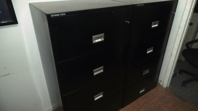Chic Fireproof File Cabinet In Black With Silver Handle For Home Office Furniture Ideas