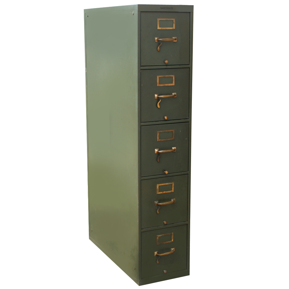 chic fireproof file cabinet in green with golden handle and five drawers design for home office furniture ideas