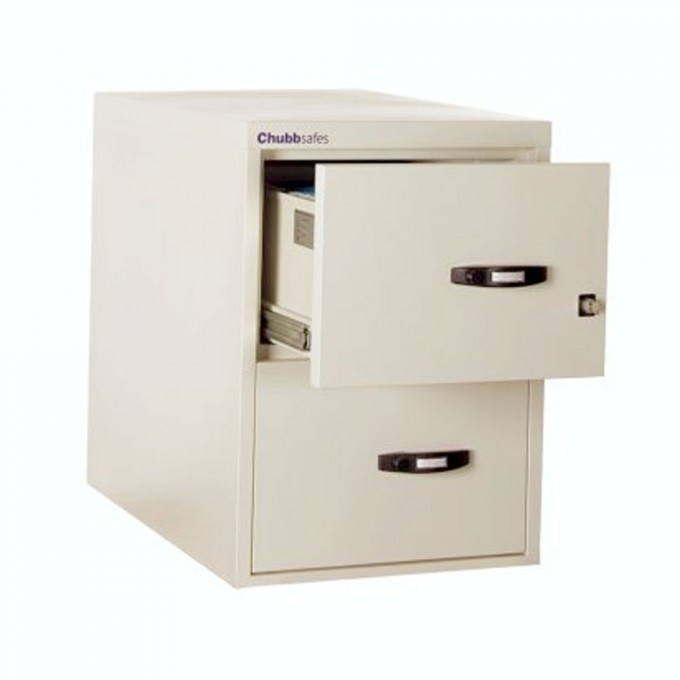 Chic Fireproof File Cabinet In White And Double Drawers Design With Black Handle For Home Office Furniture Ideas