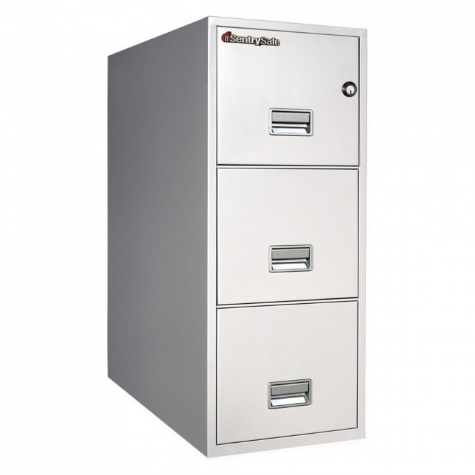 Chic Fireproof File Cabinet In White And Triple Drawers With Silver Handle For Home Office Furniture Ideas