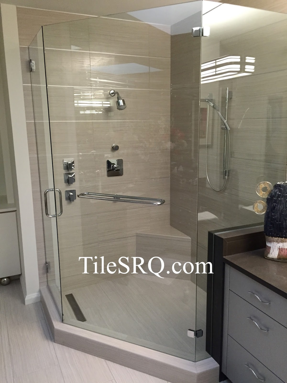 Decorating chic white tile wall with schluter strip for wall chic glass shower door with schluter strip matched with tile wall and floor for bathroom decor amipublicfo Images