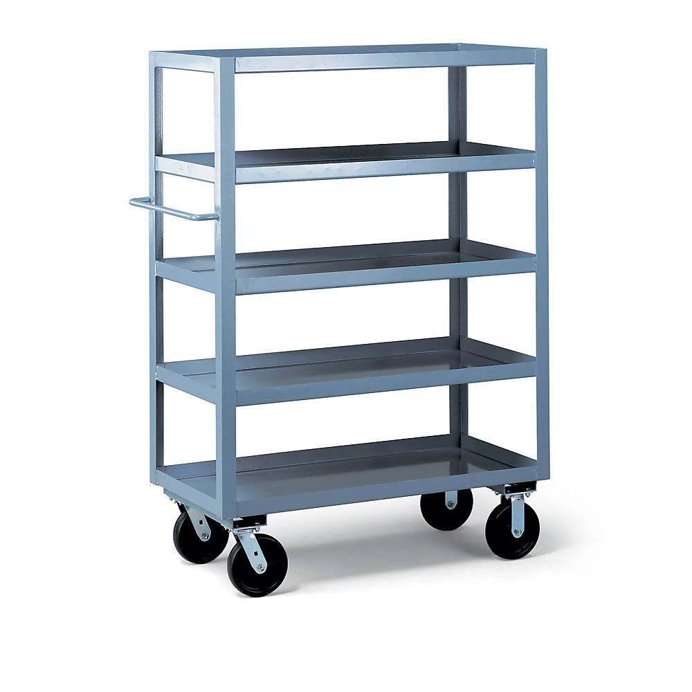 Use Edsal Shelving At Your Garage To Save Your Tools: Chic Gray Edsal Shelving In Five Tier Design With Wheels Made Of Steel For Garage Furniture Ideas