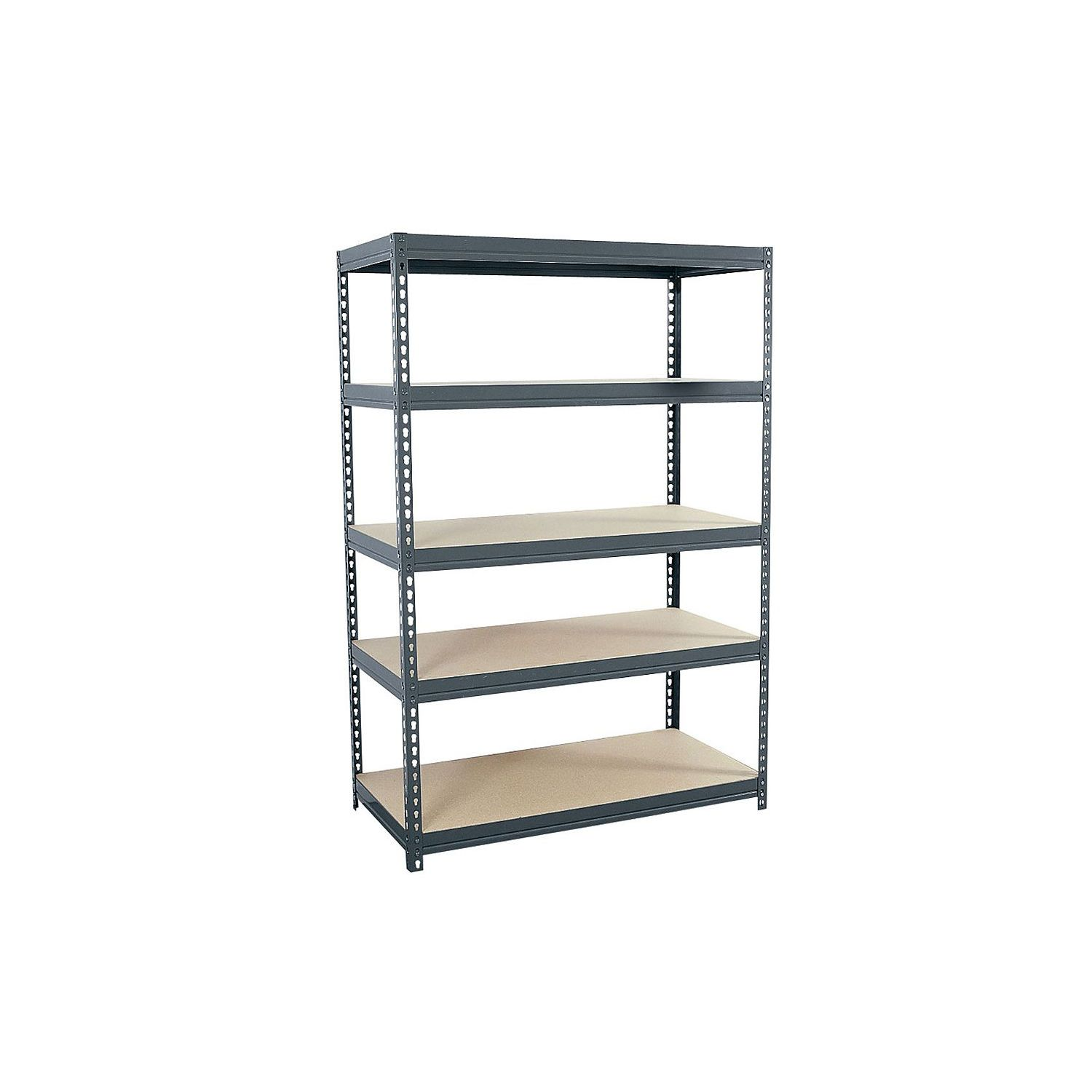 Use Edsal Shelving At Your Garage To Save Your Tools: Chic Gray Five Tier Design Edsal Shelving Made Of Iron For Garage Furniture Ideas