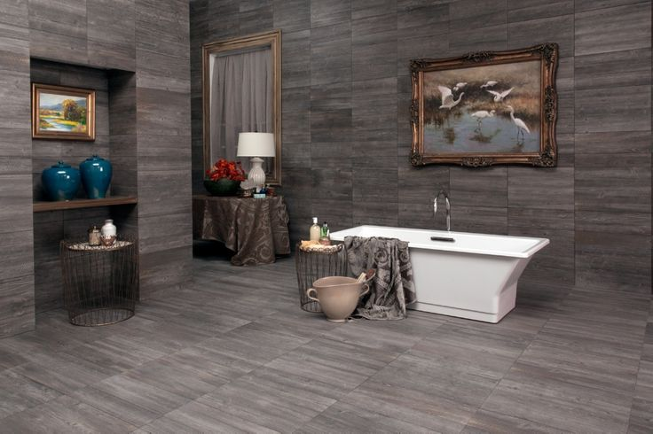 chic gray interceramic tile floor and wall plus white bathup for bathroom decor ideas