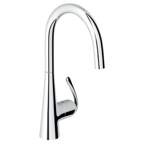 chic grohe faucets in silver with curved neck and single handle for kitchen furniture ideas