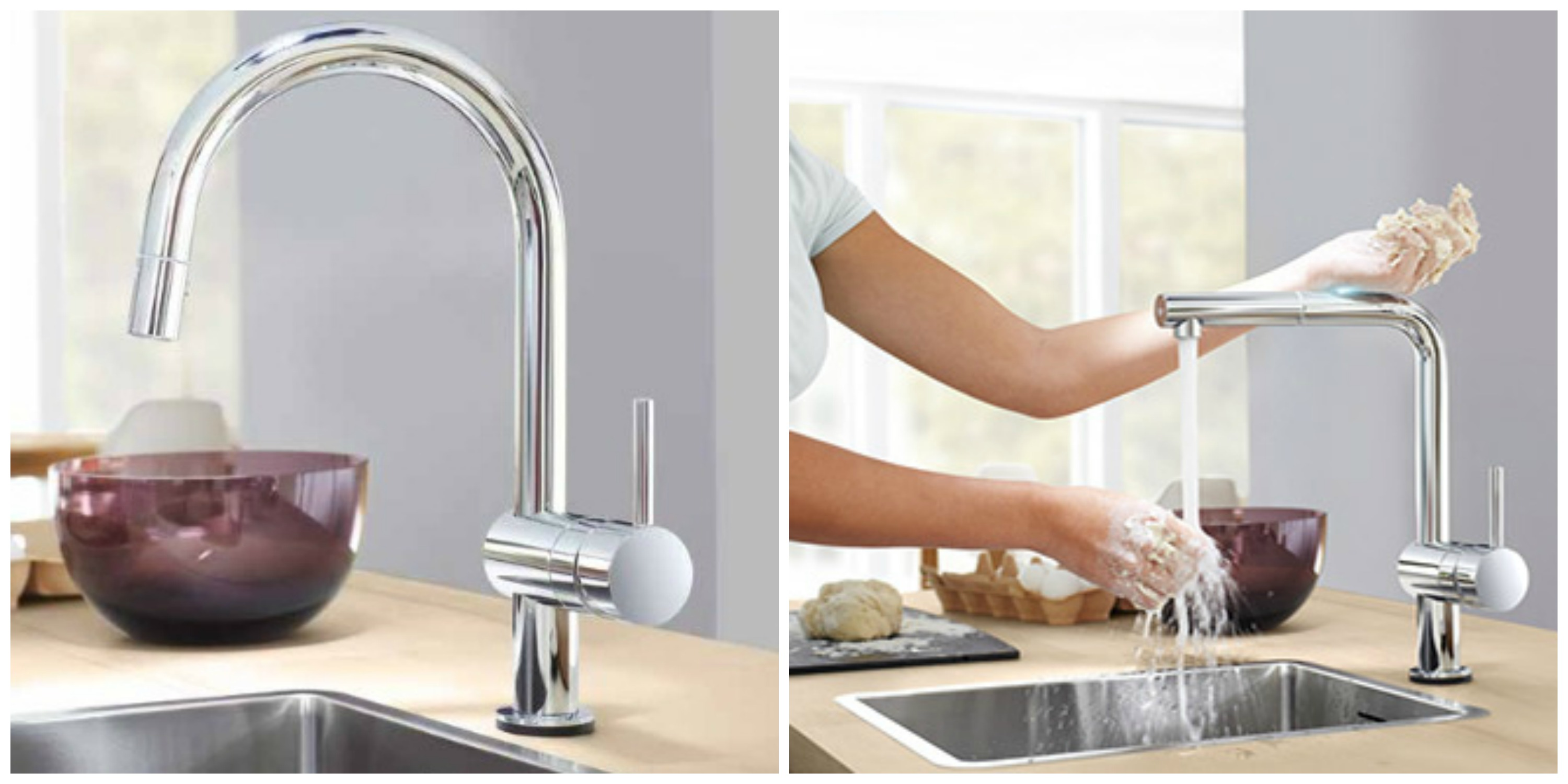 chic grohe faucets in silver with curved neck for kitchen furniture ideas