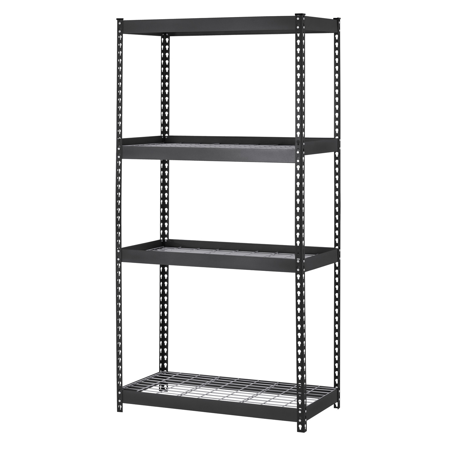 Use Edsal Shelving At Your Garage To Save Your Tools: Chic H Steel Four Shelf Heavy Duty Shelving Unit In Black By Edsal Shelving For Garage Furniture Ideas