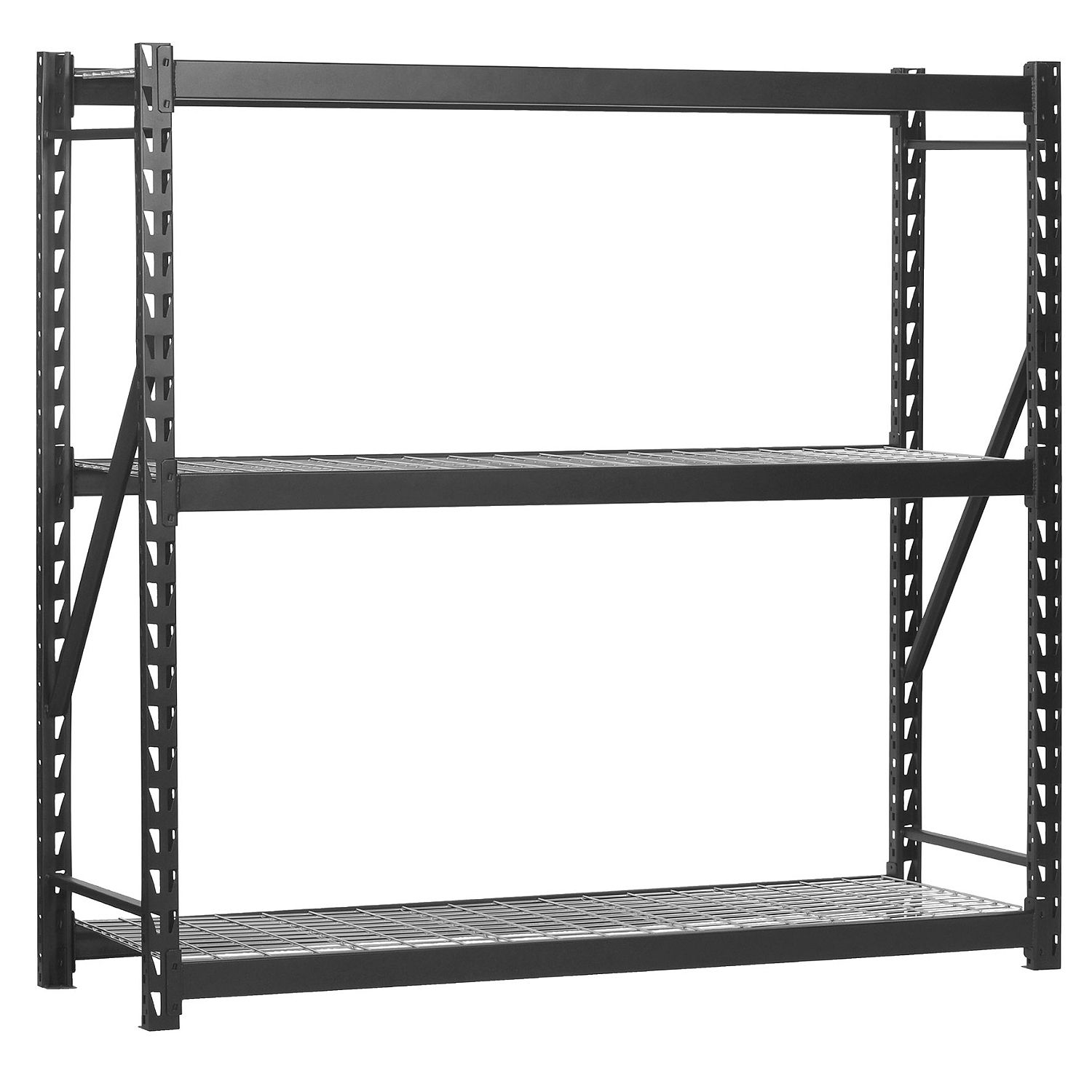 Use Edsal Shelving At Your Garage To Save Your Tools: Chic Heavy Duty Welded Storage Rack In Black By Edsal Shelving For Home Furniture Ideas