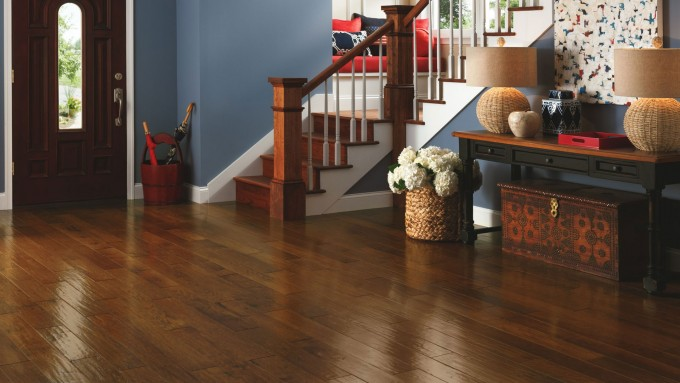 Chic Home Interior Design With Bruce Hardwood Floors Matched With Blue Wall Plus Baseboard Molding And Stair Ideas