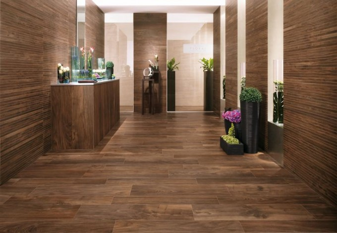 Chic Interceramic Tile Floor And Wall In Brown For Awesome Interior Design Ideas