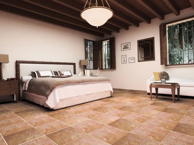 Chic Interceramic Tile Floor In Sandy Brown Matched With White Plus Sweet Bed For Bedroom Decor Ideas
