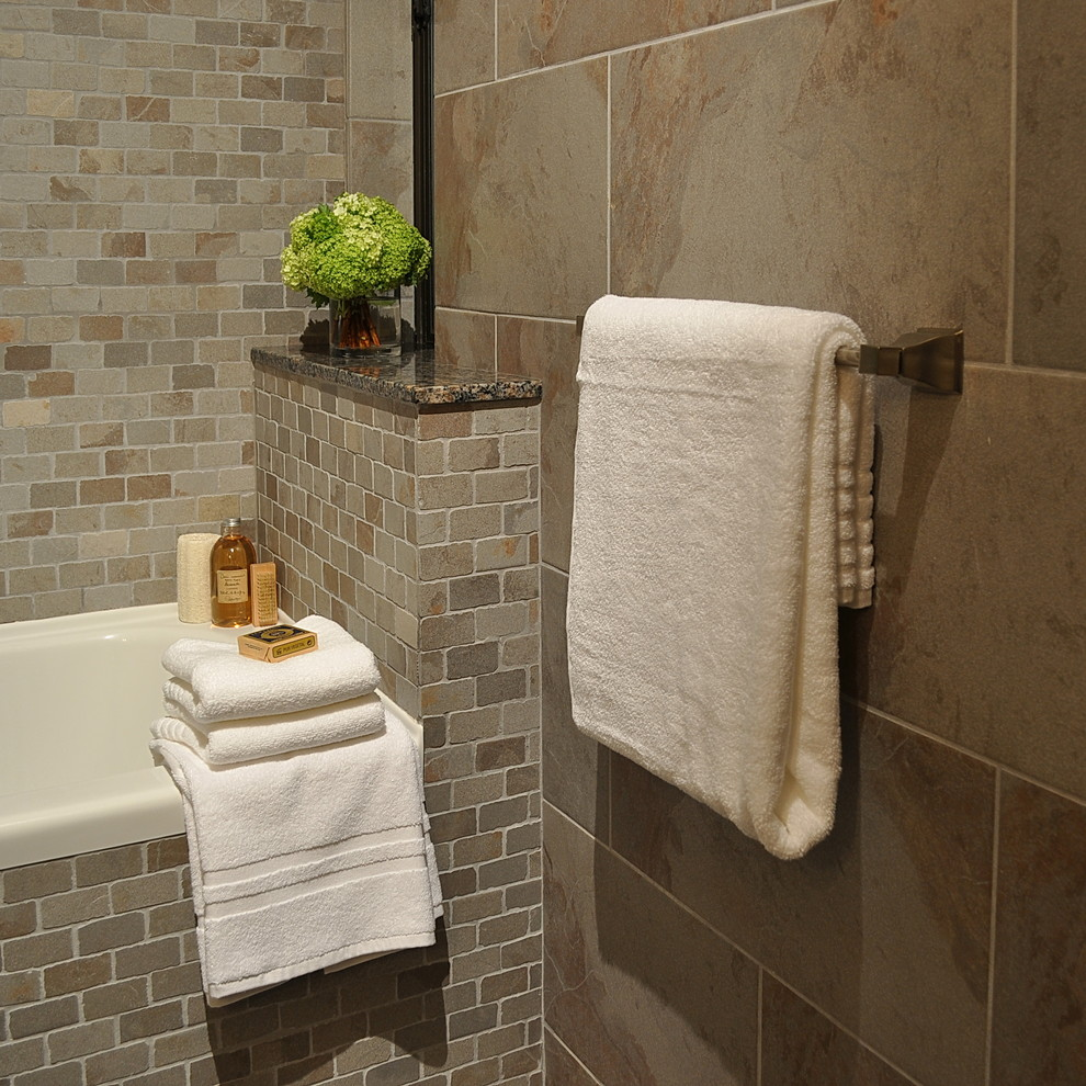 chic interceramic tile wall plus white bathup and towel bar for bathroom decor ideas