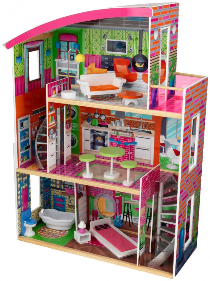 Chic Kidkraft Dollhouse With Furniture Toys And Games In Colorful And Triple Tier Design For Nursery Decor Ideas