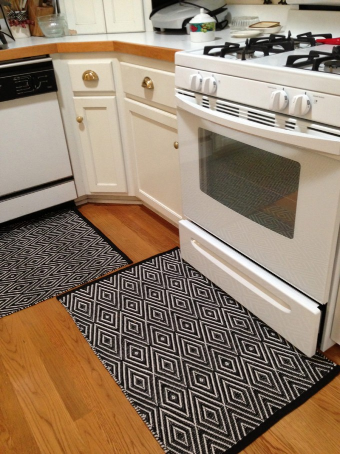 Chic Kitchen Decor With Dash And Albert Rugs On Wooden Floor Plus White Oven Ideas