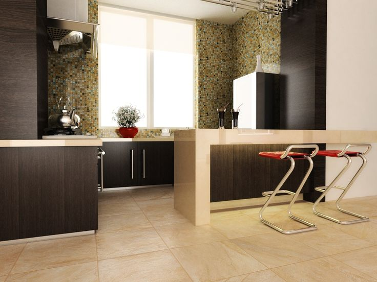 chic kitchen decor with interceramic tile floor plus kitchen island and bar stool ideas