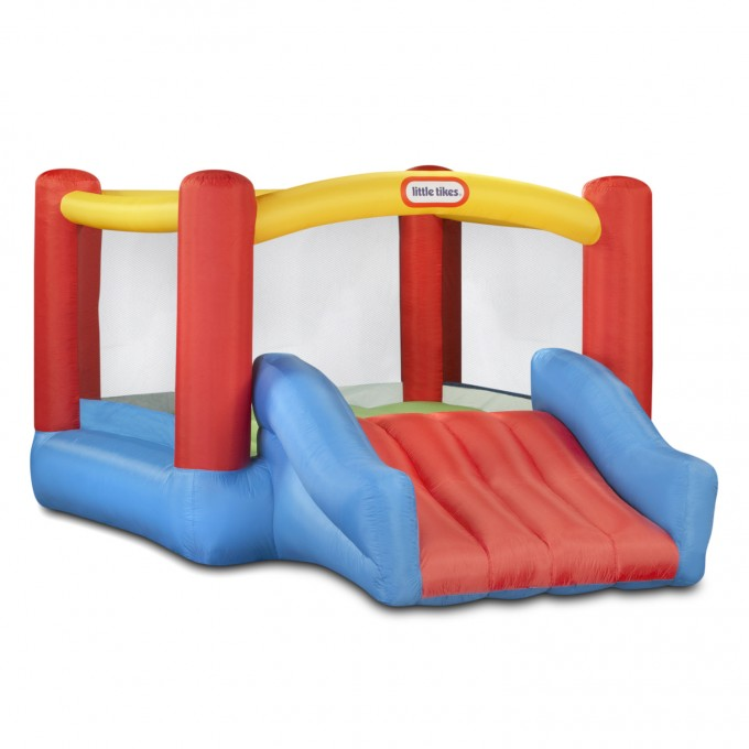 Chic Little Tikes Bounce House Made Of Caoutchouc With Red Slide For Kids Play Room Decor Ideas