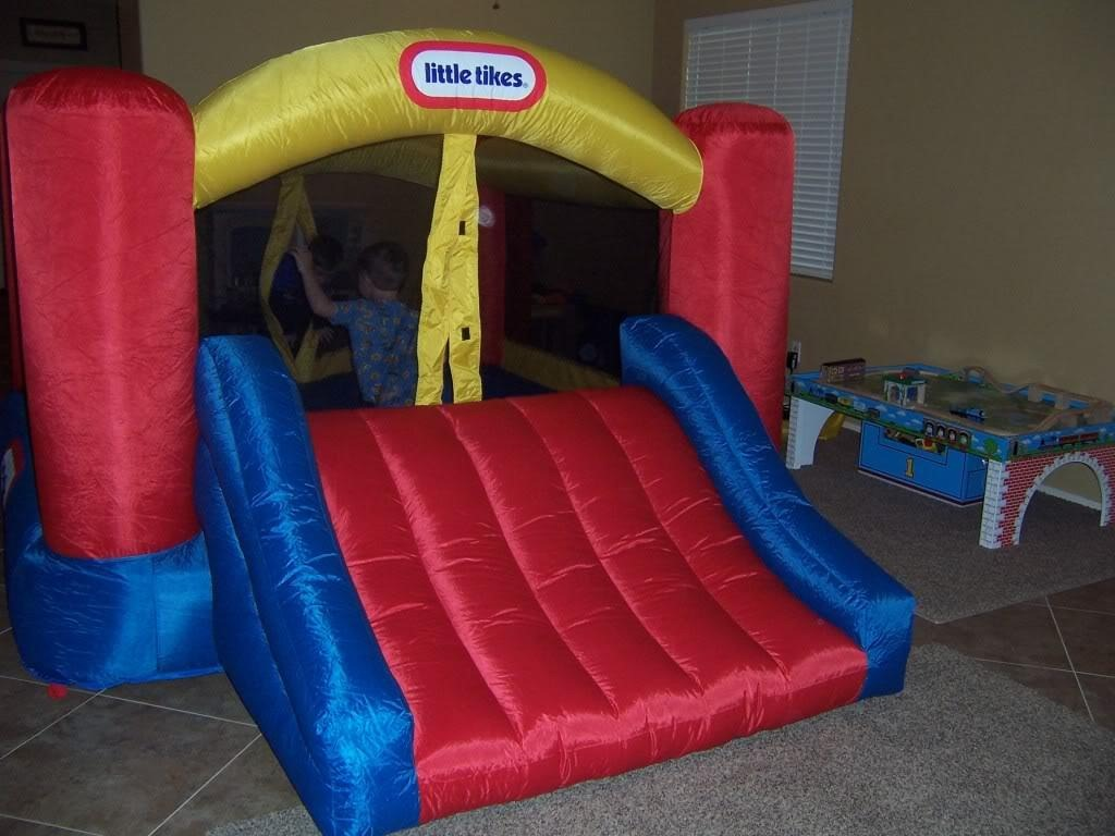 chic little tikes bounce house made of caoutchouc with slide for kids play room ideas