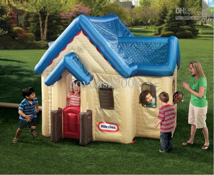 Chic Little Tikes Playhouse Made Of Parachute In Blue And Cream For Playground Decor Ideas