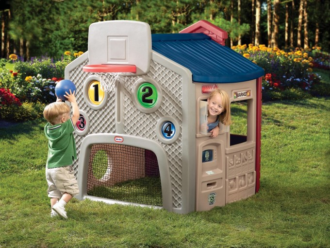 Chic Little Tikes Playhouse With Blue Roof And Basketball Ring For Awesome Playground Decor Ideas