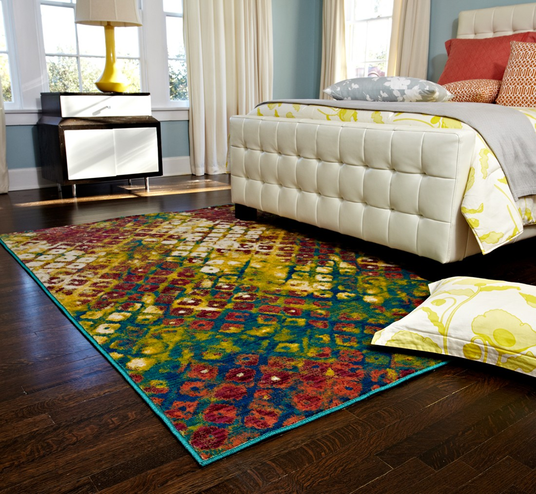 chic loloi rugs Madeline Multicolor MZ 04 on wooden floor plus bed for bedroom decor ideas