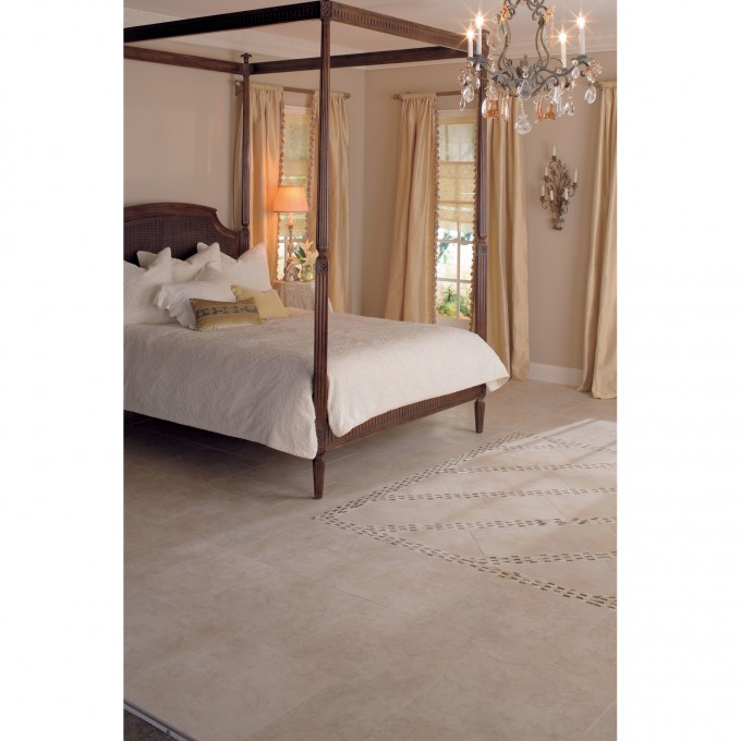 Chic Mirador Floor Tile In Brown Pearl By Mohawk Flooring Matched With White Wall Plus Bed And Chandelier For Bedroom Decor Ideas